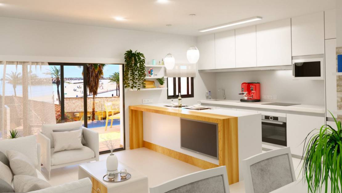 Living room-kitchen | New apartments near the sea for sale in Torrevieja